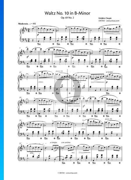 Vals n.º 10 en si menor, Op. 69 n.º 2 Partitura