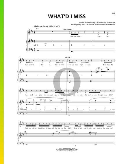 What'd I Miss Musik-Noten