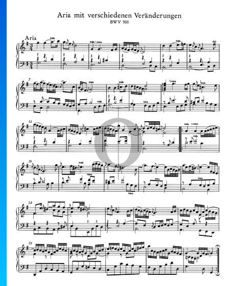 Goldberg Variationen, BWV 988: 1. Aria Musik-Noten