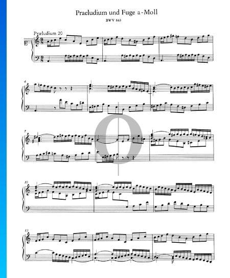 Praeludium 20 a-Moll, BWV 865 Musik-Noten