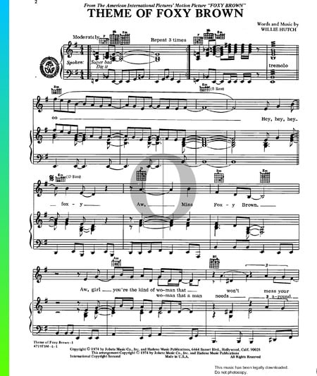 Foxy Brown Theme Sheet Music