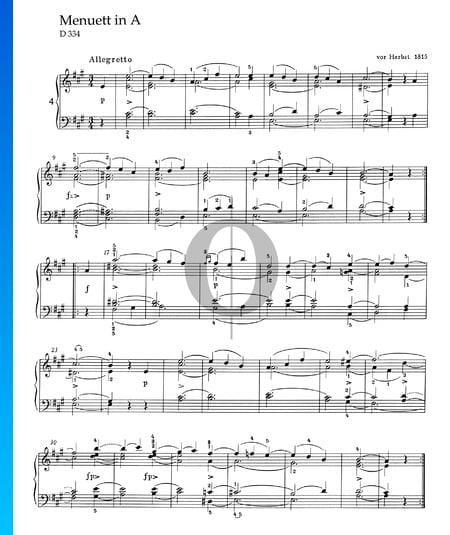 Minuet in A Major, D 334 Sheet Music