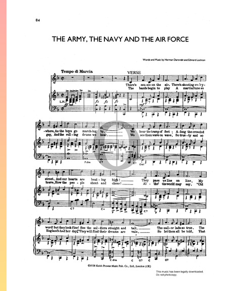 The Army, The Navy and The Air Force Sheet Music