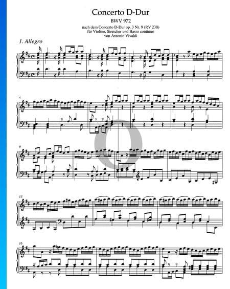 Concerto in D Major, BWV 972: 1. Allegro Sheet Music