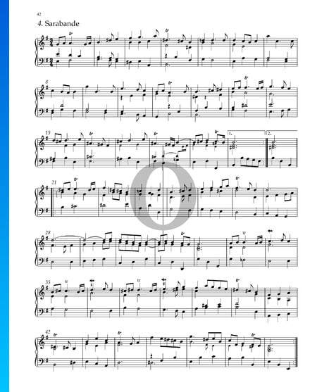 Suite n.º 4 en mi menor, HWV 429: 4. Sarabanda Partitura