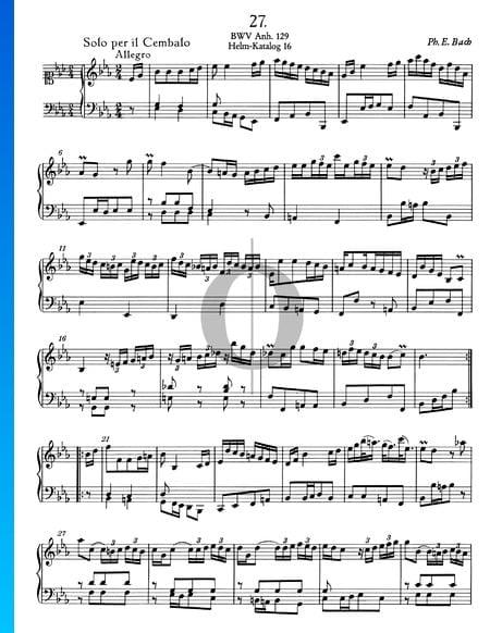 Solo para clavecín en mi bemol mayor, BWV Anh. 129 Partitura