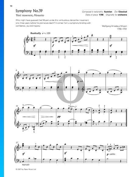 Symphony No. 39 in E-flat Major, KV 543: 3. Menuetto Allegretto (Trio) Sheet Music