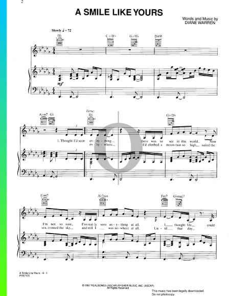 A Smile Like Yours Sheet Music