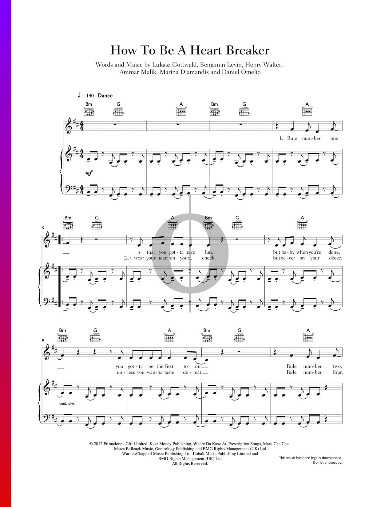 ▷ How To Be A Heart Breaker Sheet Music (Piano, Voice