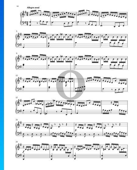 Sonate in G-Dur, BWV 1005: 3. Allegro assai Musik-Noten