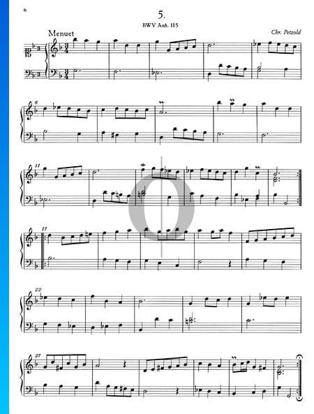 Menuet en Sol mineur, BWV Anh. 115 Partition
