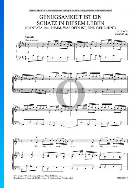 Nimm was dein ist, und gehe hin, BWV 144: Genuegsamkeit ist ein Schatz in diesem Leben Partitura