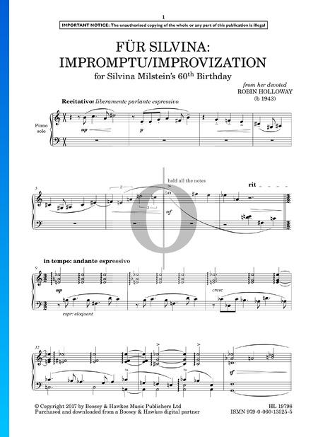 Für Silvina: Impromptu/Improvization Sheet Music