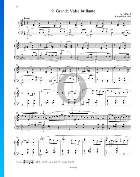 Grande Valse Brillante Op 34 No 2 Sheet Music Piano Solo Pdf Download Streaming Oktav