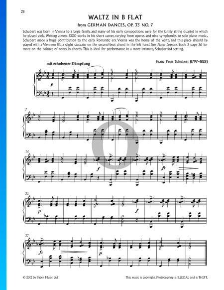Vals en si bemol mayor, Op. 33, n.º 7 Partitura