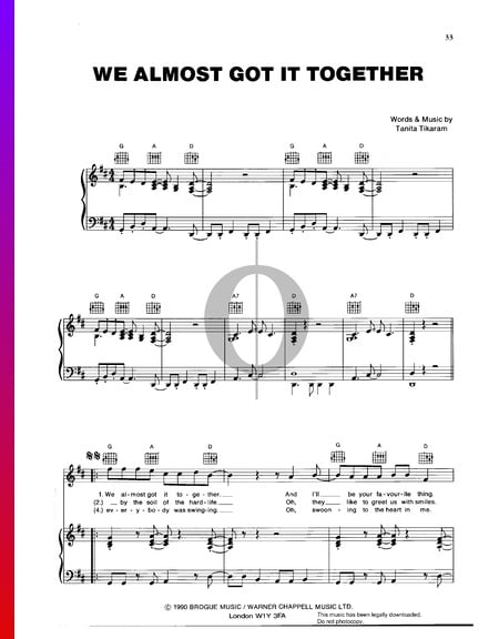 We Almost Got It Together Musik-Noten