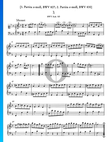 Menuet en Fa Majeur, BWV Anh. 113 Partition
