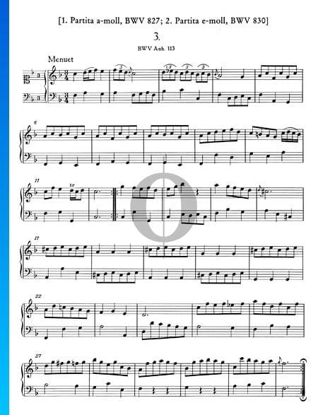 Minueto en fa mayor, BWV Anh. 113 Partitura