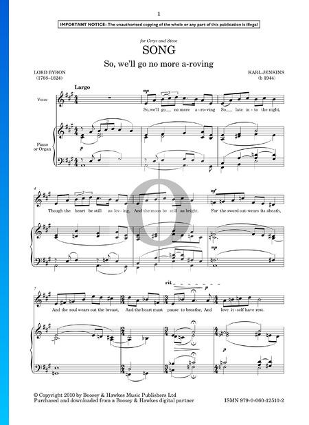Song (So We'll Go No More A-Roving) Musik-Noten