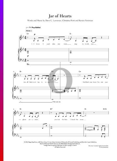Jar Of Hearts Sheet Music