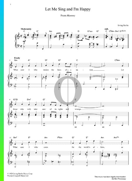 Let Me Sing And I'm Happy Sheet Music