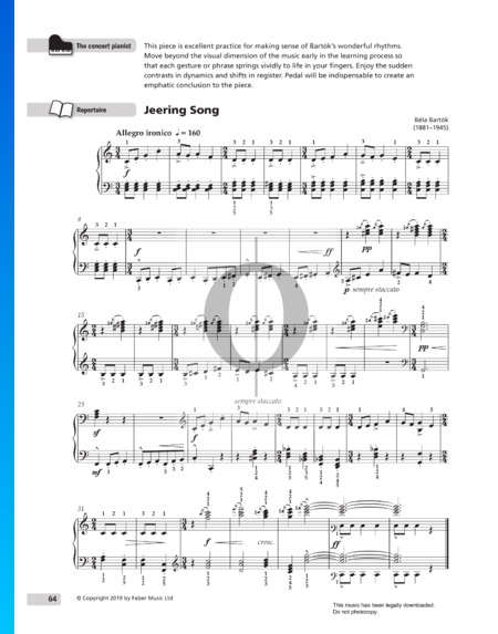 For Children, Sz. 42 Vol 1: No. 30 Jeering Song Sheet Music