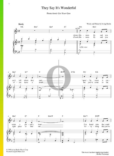 They Say It's Wonderful Musik-Noten