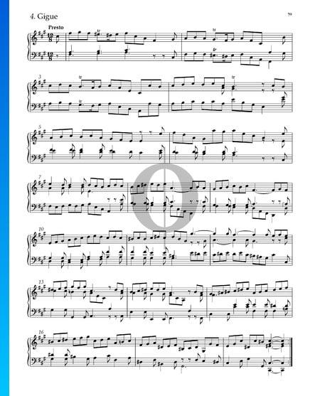 Suite No. 5 en Fa dièse mineur, HWV 431: 4. Gigue Partition