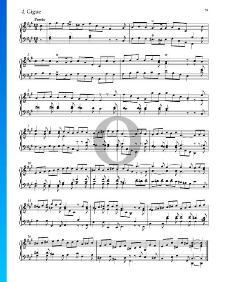 Suite No. 5 F-sharp Minor, HWV 431: 4. Gigue Sheet Music