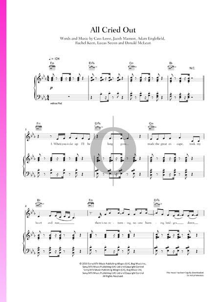 All Cried Out Partitura
