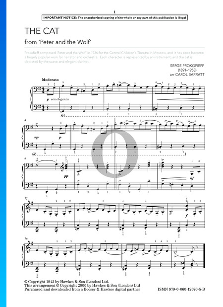 Peter and the Wolf, Op. 67: The Cat Sheet Music
