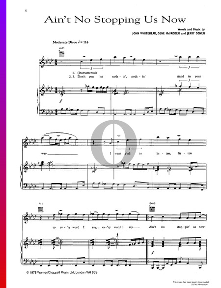 Ain't No Stoppin' Us Now Sheet Music