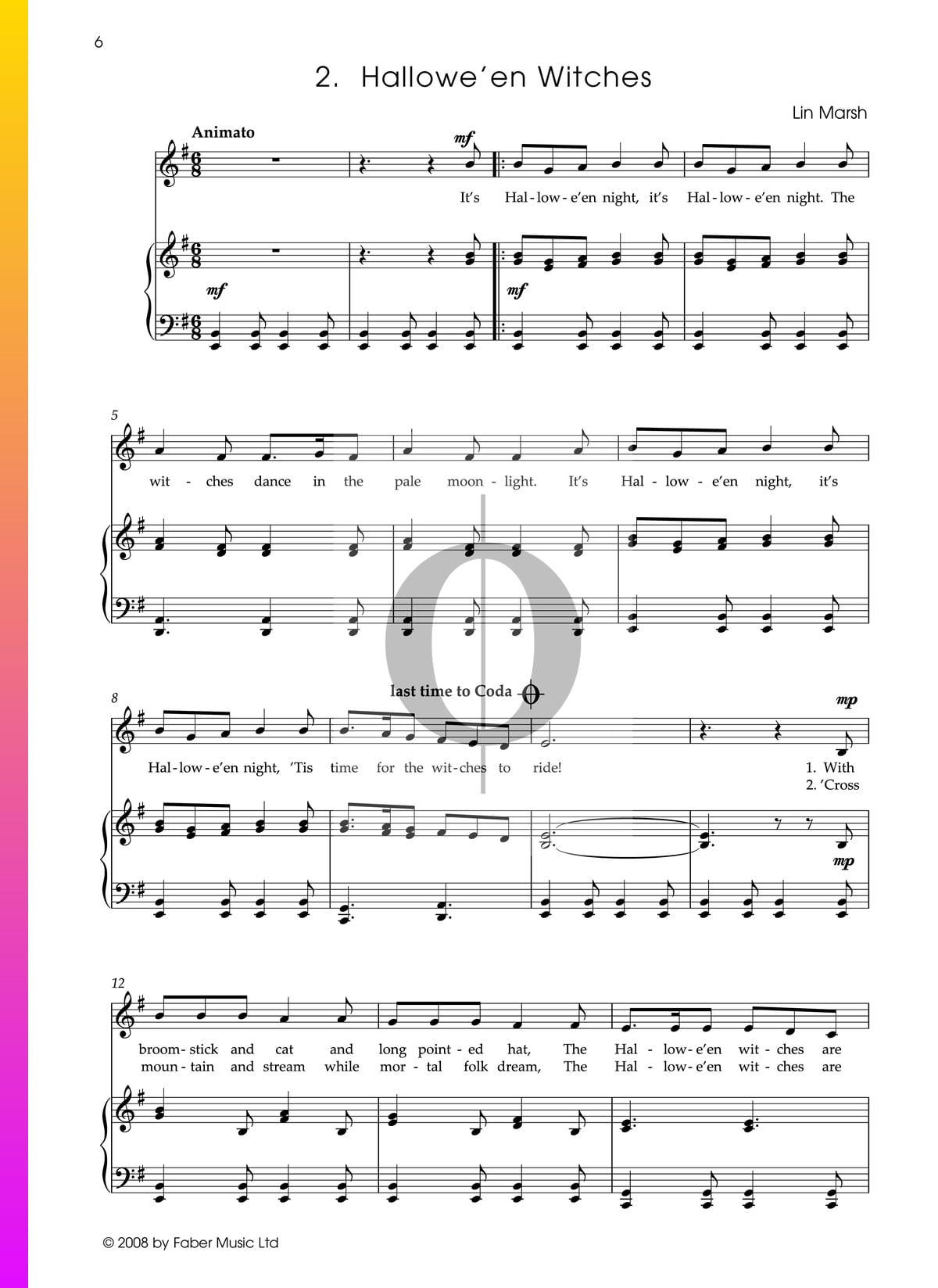▷ halloween witches sheet music (piano, voice) - pdf download & streaming -  oktav  oktav