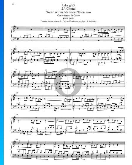 Choral (Wenn wir in höchsten Nöten sein), BWV 668a Musik-Noten