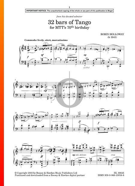 32 Bars Of Tango (For MTT's 70th Birthday) Sheet Music