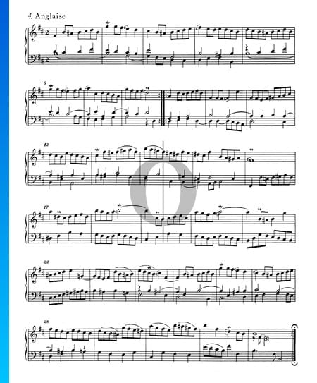 Suite Française No. 3 Si bémol mineur, BWV 814: 4. Anglaise Partition