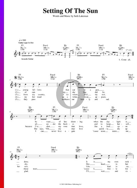 Setting Of The Sun Sheet Music