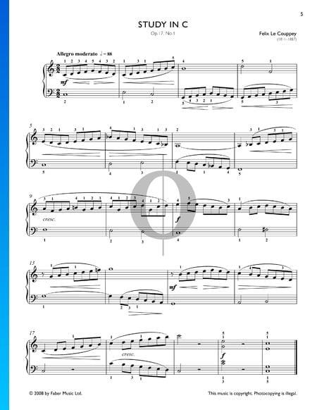 Étude en Do Majeur, Op. 17 No. 1 Partition