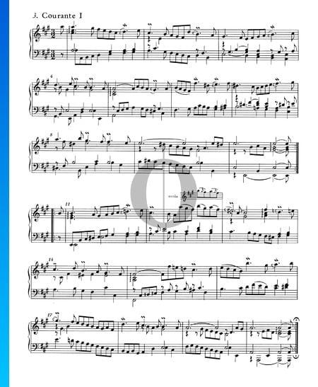 Suite inglesa n.º 1 en la mayor, BWV 806: 3. Courante I Partitura