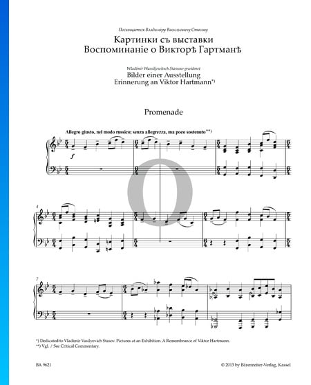 Pictures At An Exhibition: Promenade Sheet Music