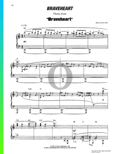 Braveheart Musik-Noten