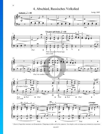 Abschied, Russisches Volkslied, S. 251 Musik-Noten