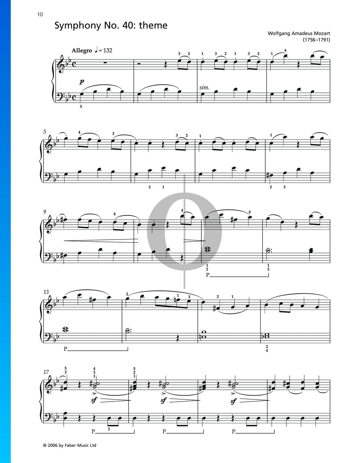 ▷ Symphony No  40 - Theme Sheet Music (Piano Solo) - PDF Download