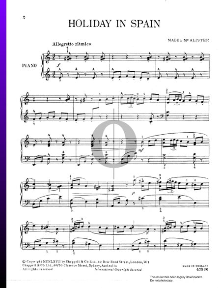Holiday In Spain Sheet Music