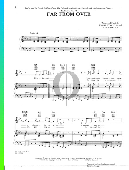 Far From Over Sheet Music