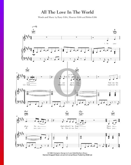All The Love In The World Sheet Music