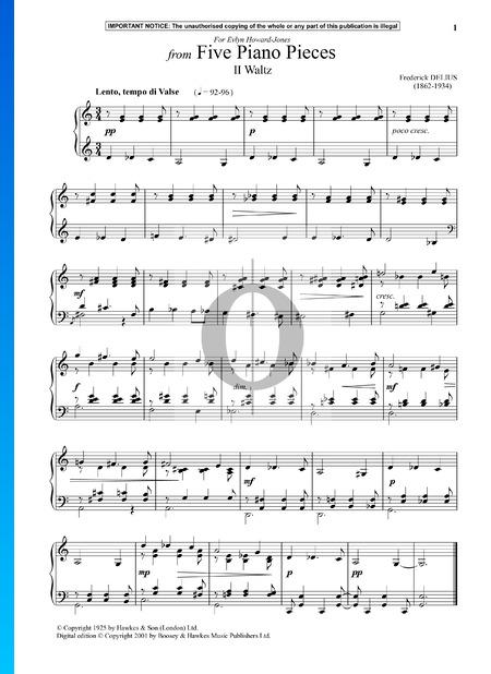Five Piano Pieces: 2. Waltz Musik-Noten