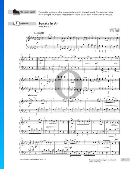 Sonate in As-Dur, Hob.XVI:43: 2. Menuetto Musik-Noten