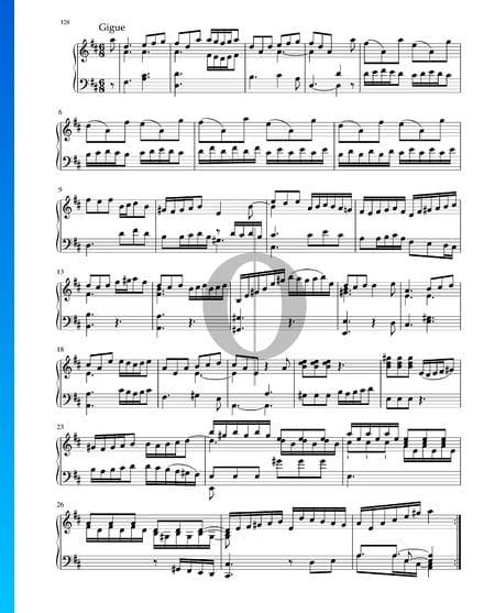 Suite in D-Dur, BWV 1012: 7. Gigue Musik-Noten