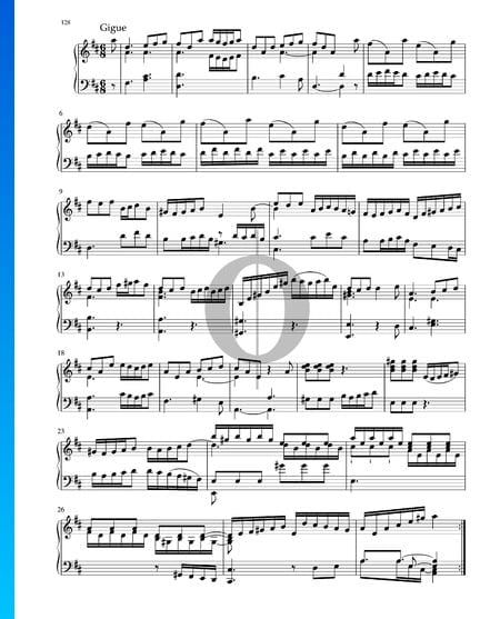 Suite in D Major, BWV 1012: 7. Gigue Sheet Music